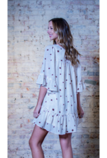 Entro Harlowe -Brown & White Dotted Print Dress