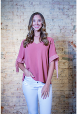 Entro Jeanene - V-neck top with contrast print
