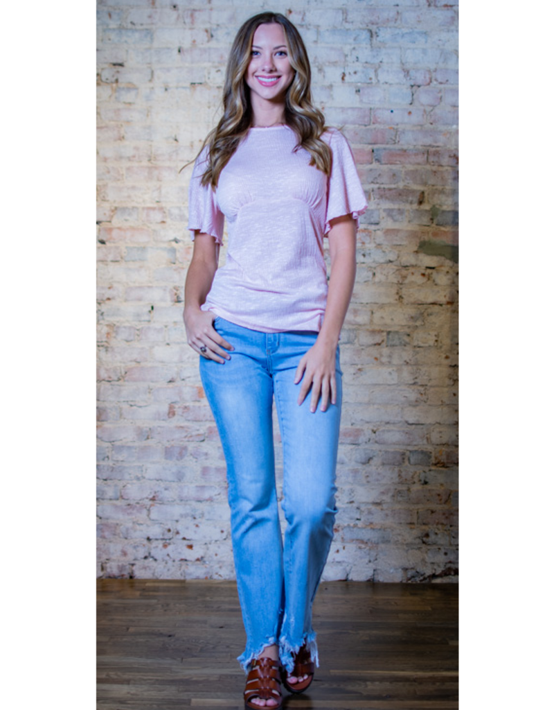 Doe & Rae Neicy - Pink Empire Waist Knit Top