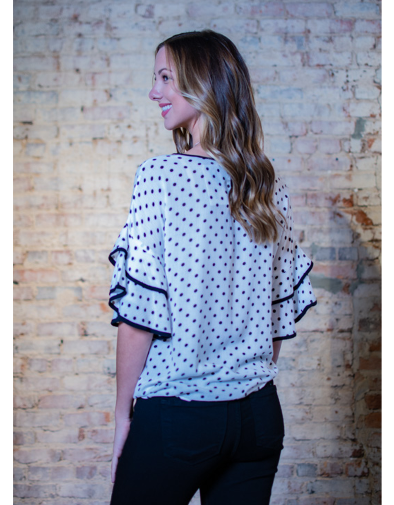 Doe & Rae Rossie - Black/White Ruffled Sleeve with Front Tie