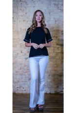 Doe & Rae Marietta - Frill Sleeve Drop Shoulder Top