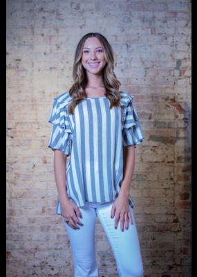 Oddi Striped blouse w/tiered ruffle sleeves - Janetta