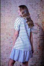 Doe & Rae Snowdia - Strip Dress with Twist Sleeves