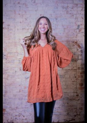 Entro Rust Swiss Dot Babydoll Tunic/Dress - Clover