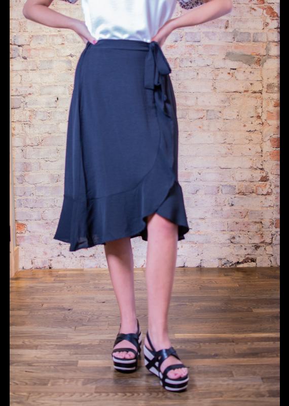 Mittoshop Black Ruffle Wrap Skirt - Ruby