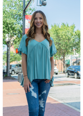 Kori Seafoam Bell Sleeve with Ruffle Top - Maggie