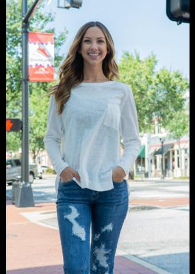 Wishlist White Long Sleeve Pocket T-Shirt - Londena
