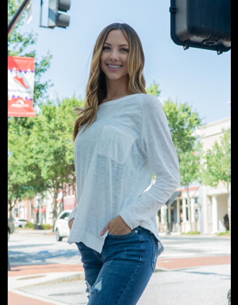 Wishlist Londena - White Long Sleeve Pocket T-Shirt