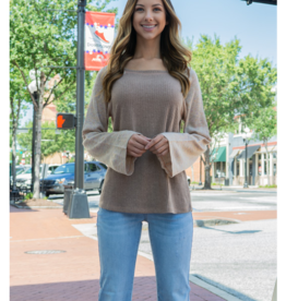 Kori Wide Neck with Fabric Mixed Knit Top - Felanda