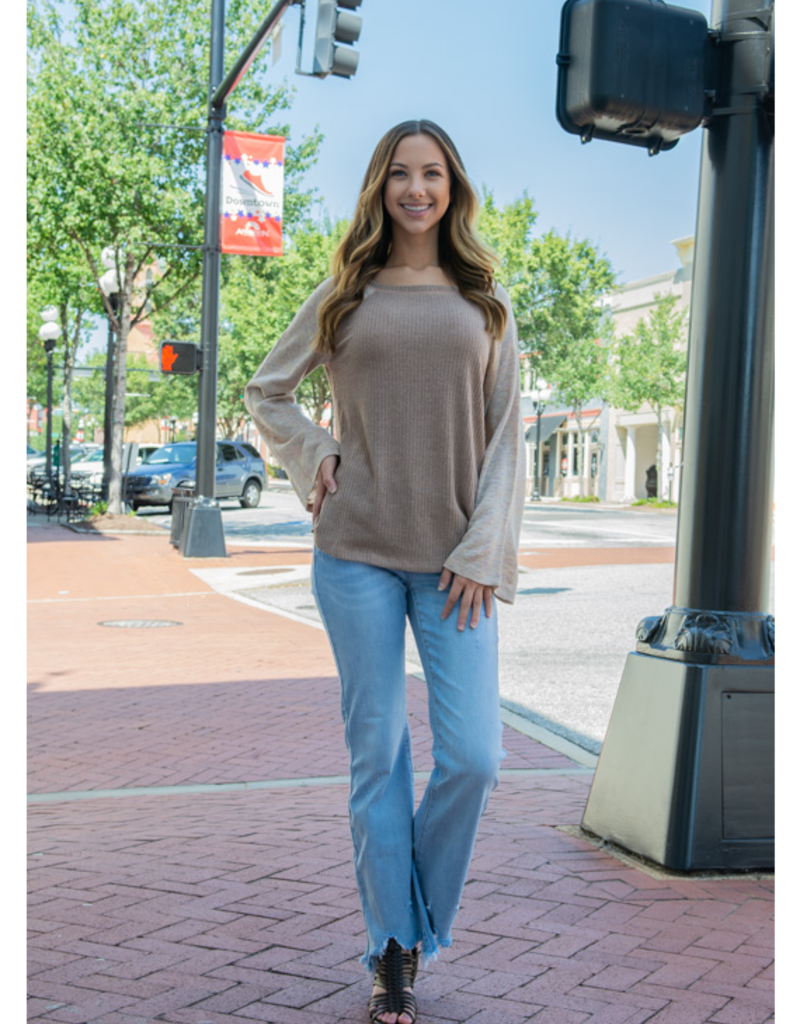 Kori Felanda - Wide Neck with Fabric Mixed Knit Top