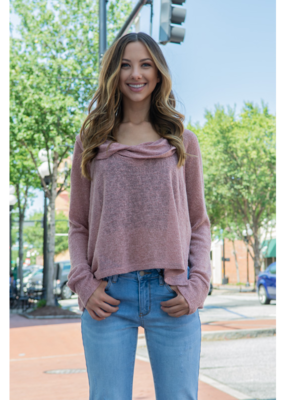 Mittoshop Mauve Low Gauge Cowl Neck Top  - Sylvie