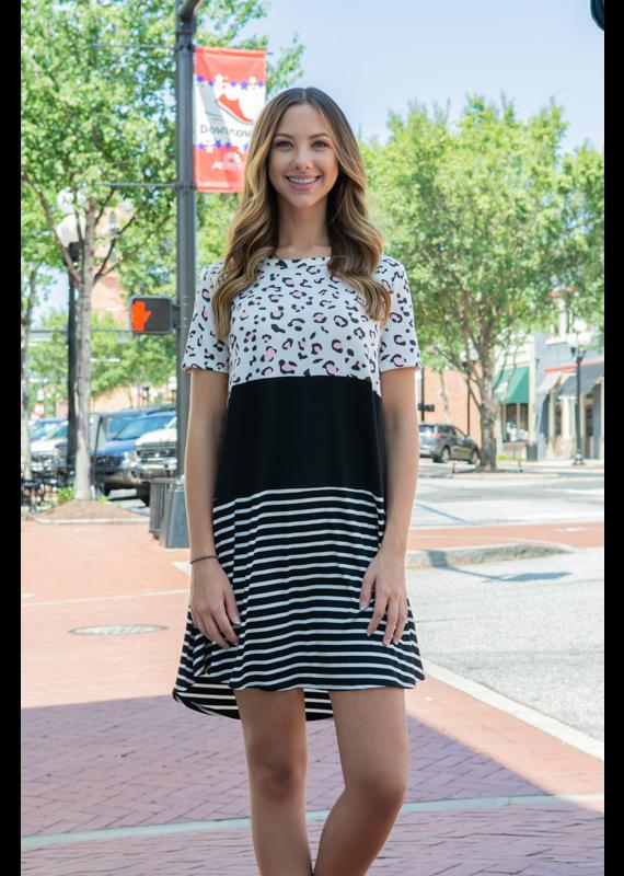 A.gain Striped Animal Print Dress - Tywla