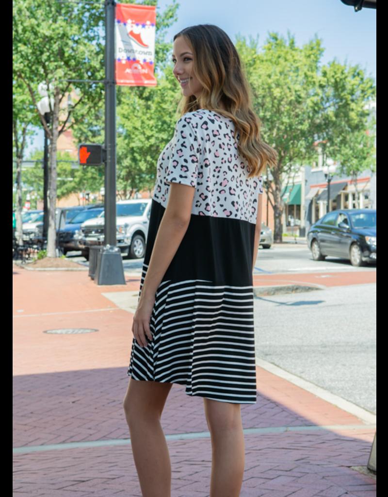 A.gain Tywla - Striped Animal Print Dress