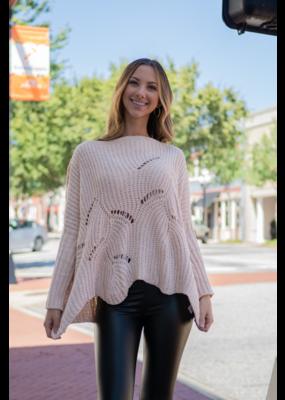 L Love Cream Scallop Hem Thick Knit Sweater - Onita