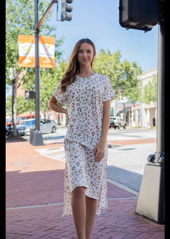 Entro Leopard Print Asymmetrical Midi Dress - Hydrangea