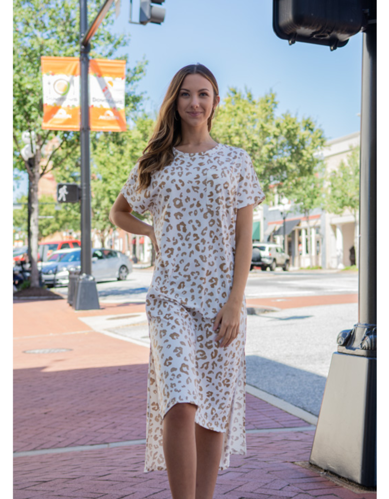 Entro Hydrangea - Leopard Print Asymmetrical Midi Dress