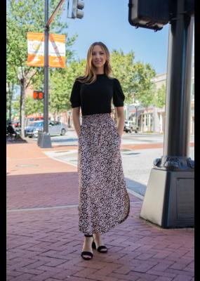 Mittoshop Brown Animal Print Elastic Waist Maxi Skirt - Reby