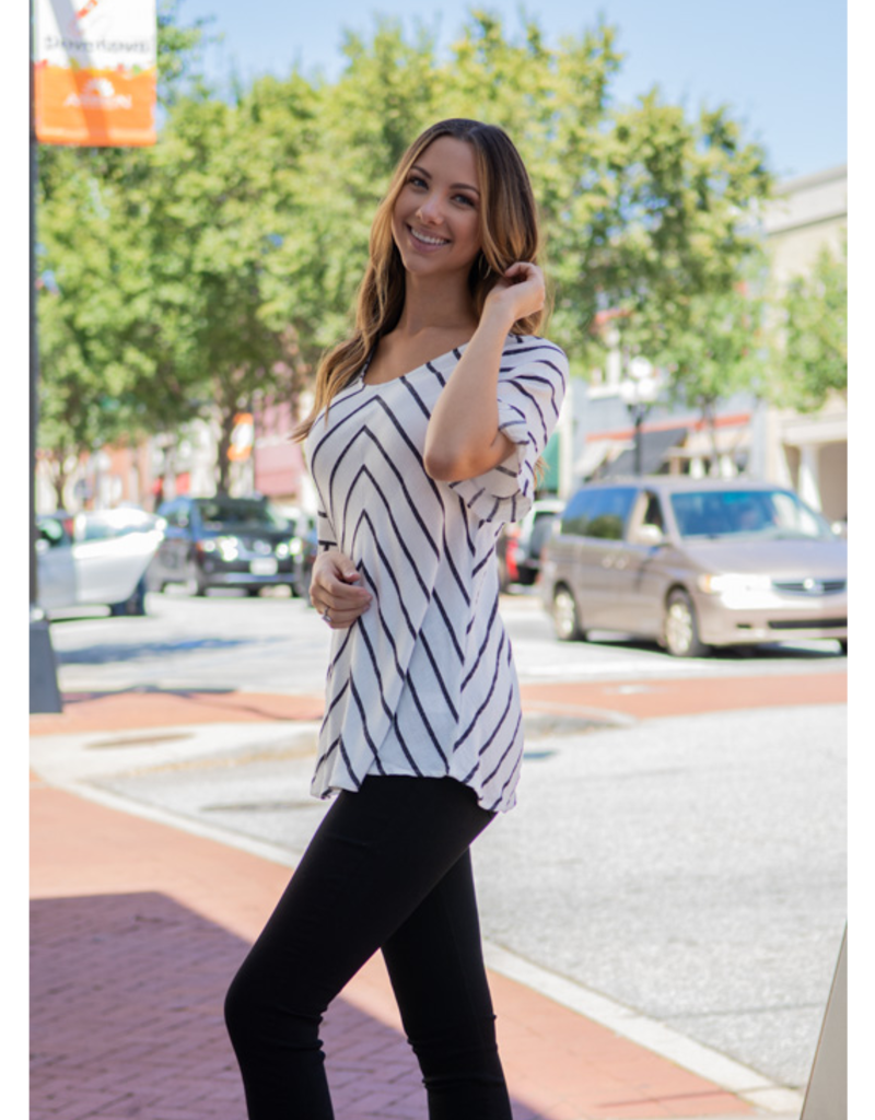Doe & Rae Nessie - Linen Striped Top with Raw Edge