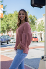 Jodifl Marzie - Mauve fuzzy top with balloon sleeve