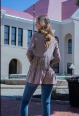 Jade by Jane Waldine -  Mocha Tier Long Sleeve Tunic with Animal Print