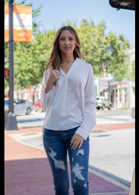 Mittoshop White Pullover V-Neck Dress Shirt  - Selene
