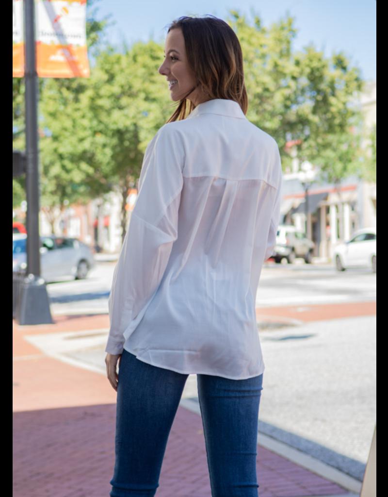 Mittoshop Selene - White Pullover V-Neck Dress Shirt