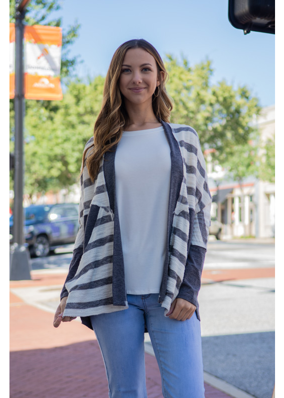 L Love Charcoal & White Stripped Open Front Cardigan - Corace