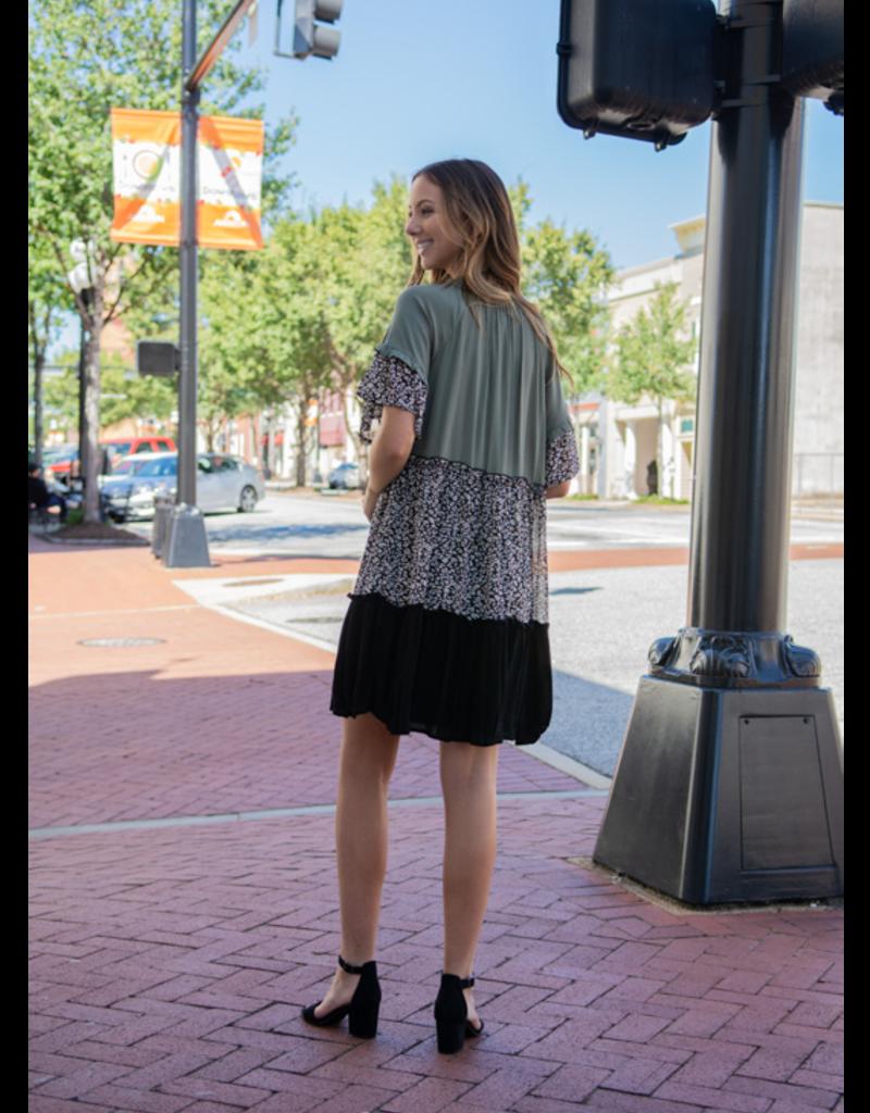 L Love Renita - Olive Color Block Printed Dress