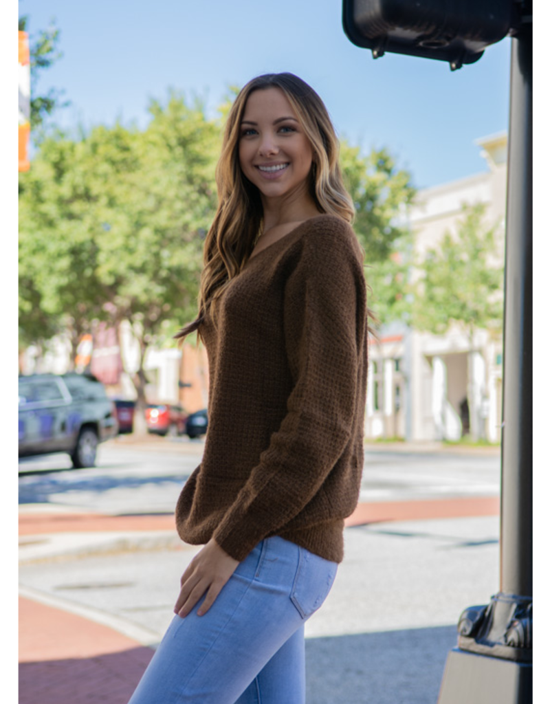 L Love Selma - Camel Criss-Cross Back Knit Sweater