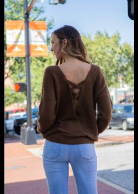 L Love Camel Criss-Cross Back Knit Sweater - Selma