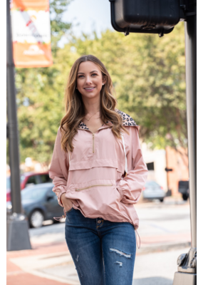 Main Strip Pullover with Leopard Contrast Inside - Tula
