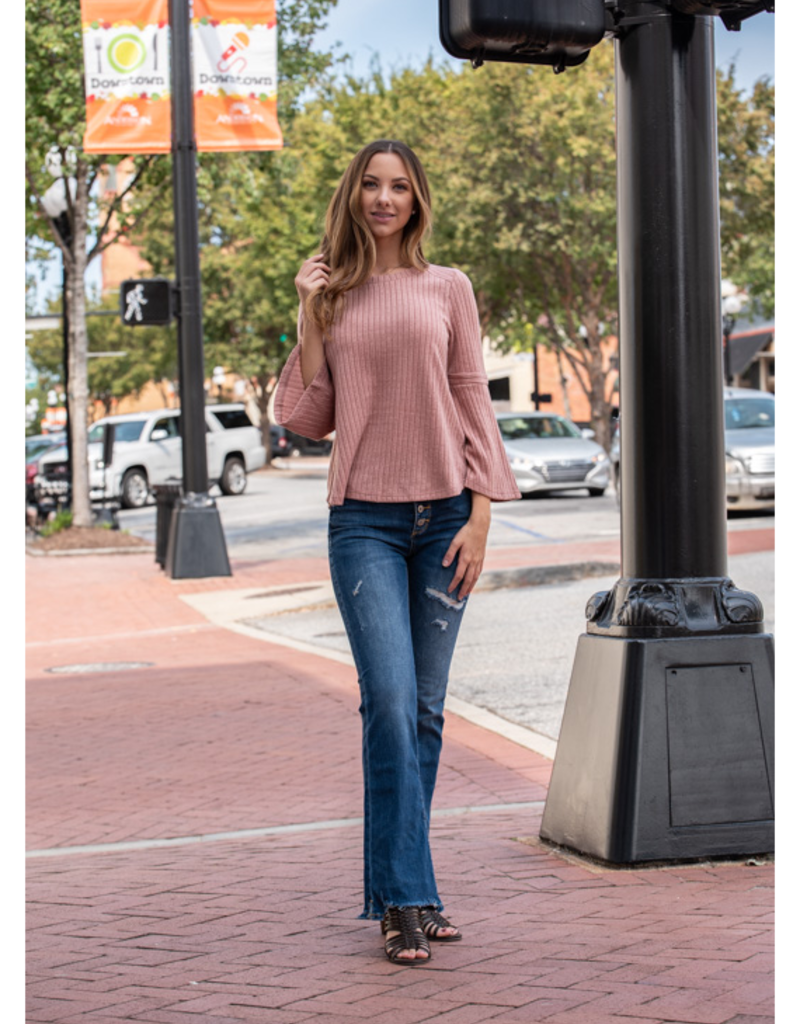 Loverichie Rowena -Blush ribbed bell sleeve top