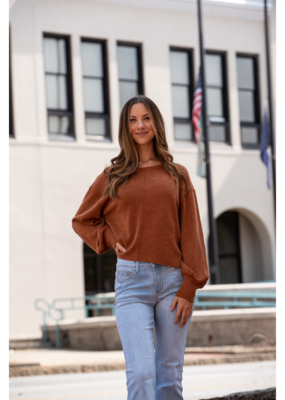 Loverichie Camel Ribbed Balloon Sleeve  Top - Stella