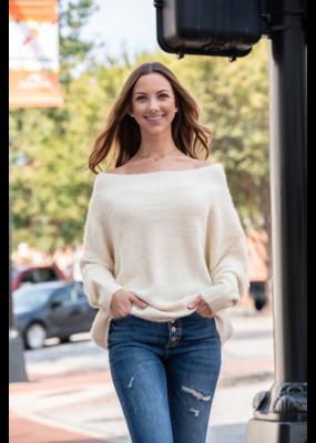 L Love Taryn - Off Shoulder Fuzzy Sweater -Taryn