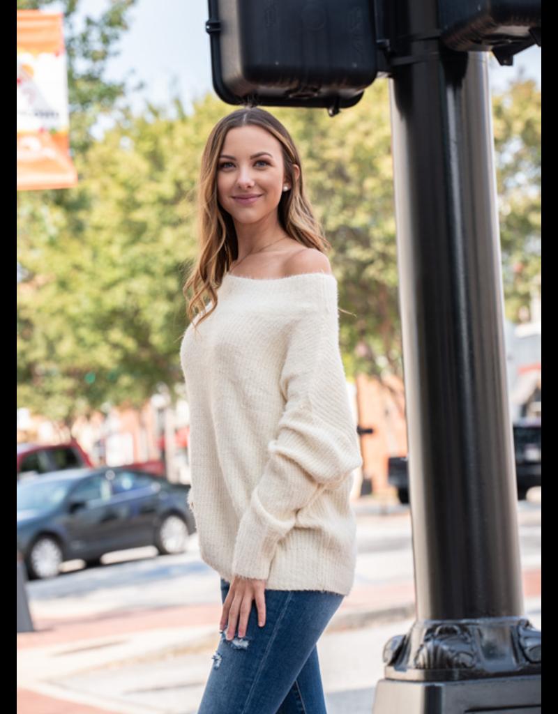 L Love Taryn - Off Shoulder Fuzzy Sweater