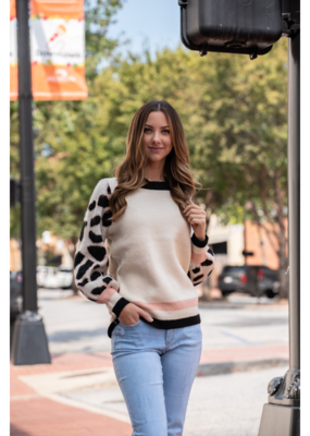 Entro Faux Mohair Sweater with Leopard Contrast Sleeves