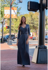 Entro Vonnie - Charcoal maxi dress w/ knot detail at waist