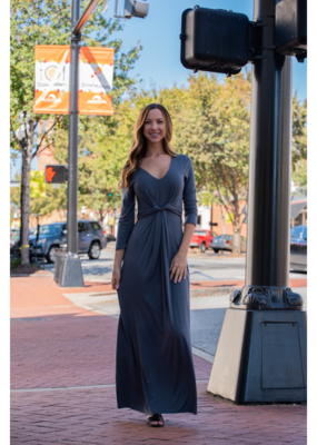 Entro Charcoal maxi dress w/ knot detail at waist - Vonnie