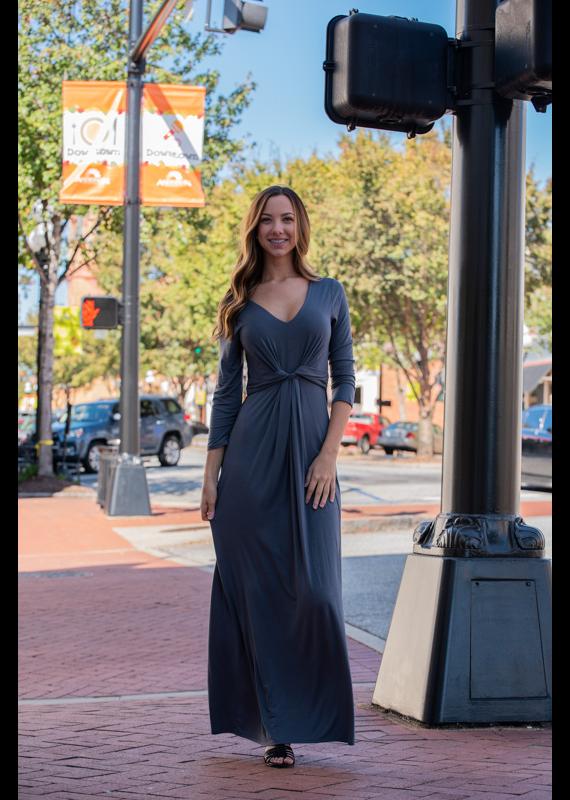 Entro Charcoal maxi dress w/ knot detail at waist - Vonnie