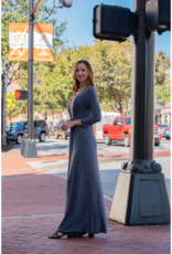 Entro Vonnie - Charcoal maxi dress w/ knot detail at waist
