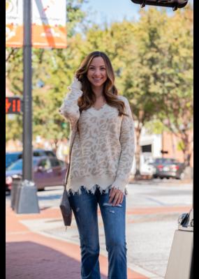 Main Strip Frayed V-Neck Leopard Sweater -Vinnie