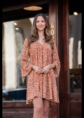 Entro Spotted V-Neck Babydoll Dress - Wilomena