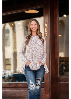 Entro Leopard Print Scoop Neck Tiered Long Sleeve - Rilda