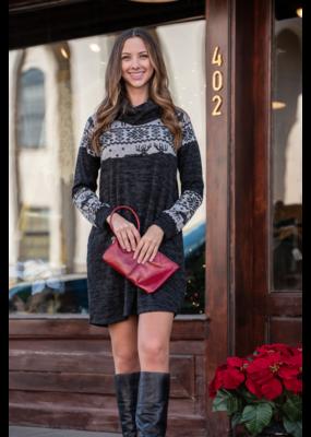 Jodifl Contrast sweater dress w/Reindeer print - Suzanna