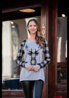 Jodifl Grey Top w/ Black &  Grey Checkered Reindeer - Zollie