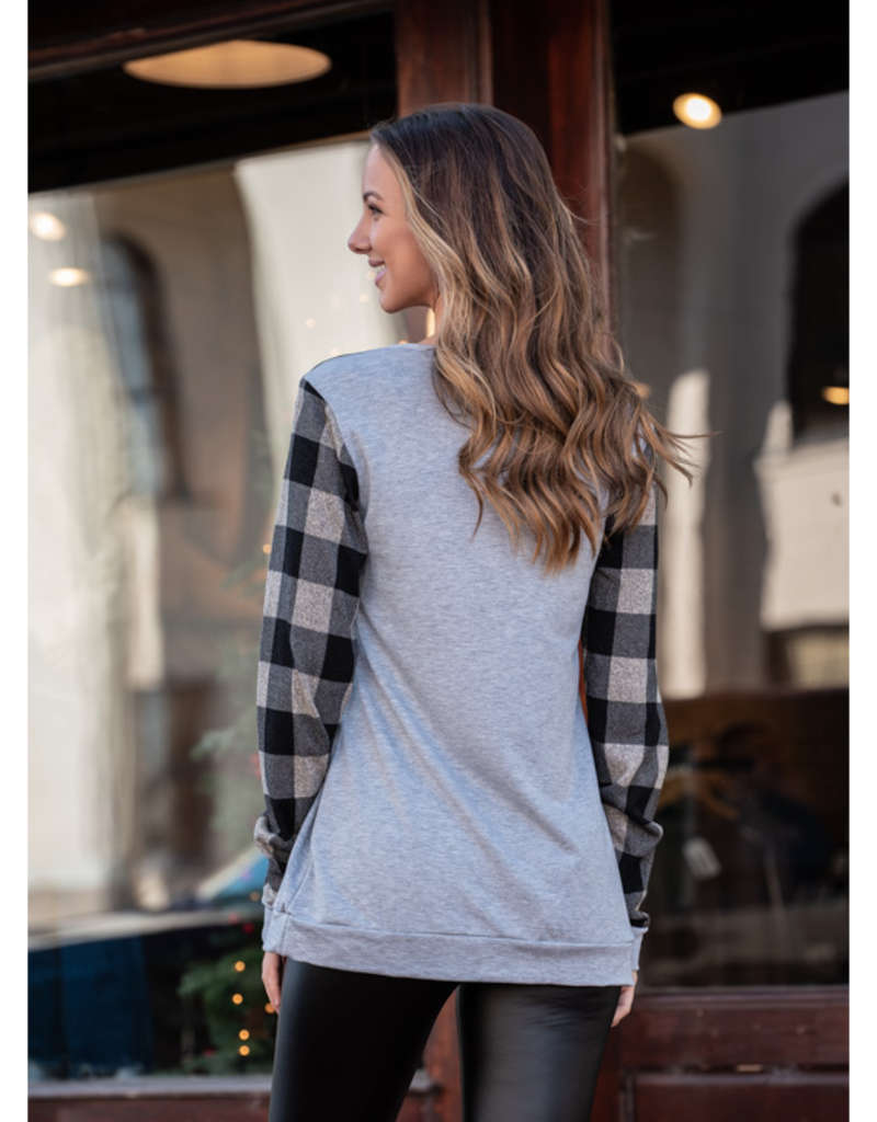 Jodifl Grey Top w/ Black &  Grey Checkered Reindeer - Zollie