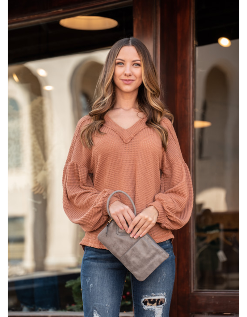 Loverichie Rust Color  V-Neck Waffle Knit Top - Ramelle