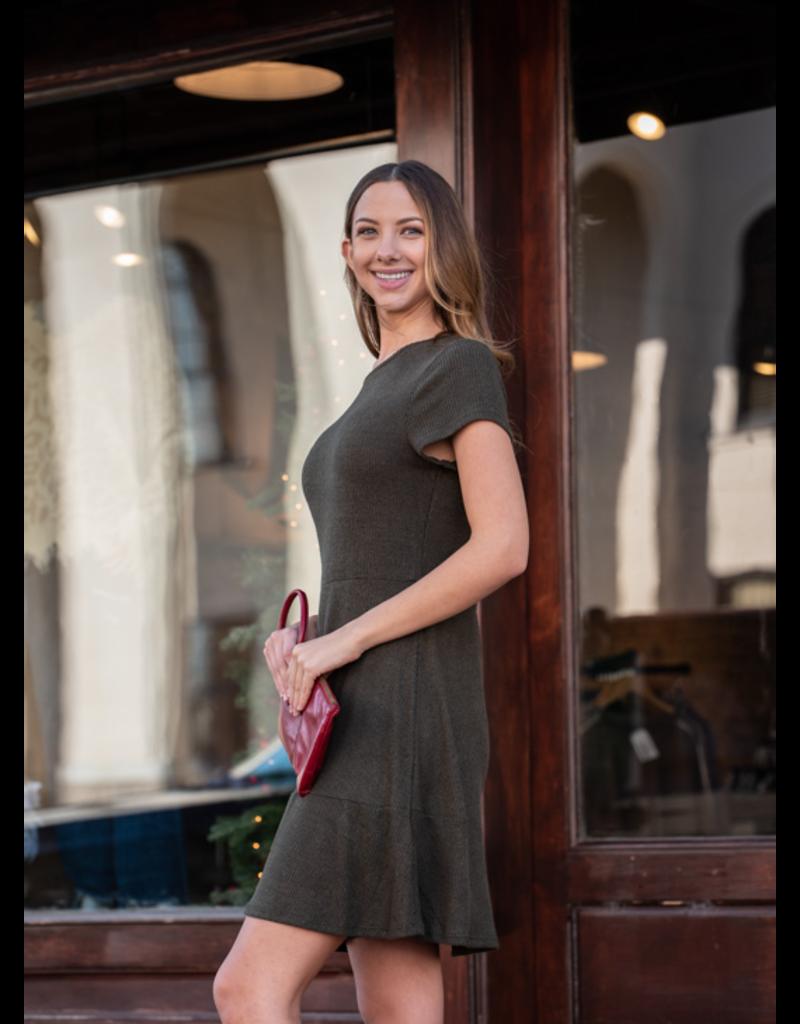 Mittoshop Olive Brushed Rib Hacci Skater Knit Dress - Primrose