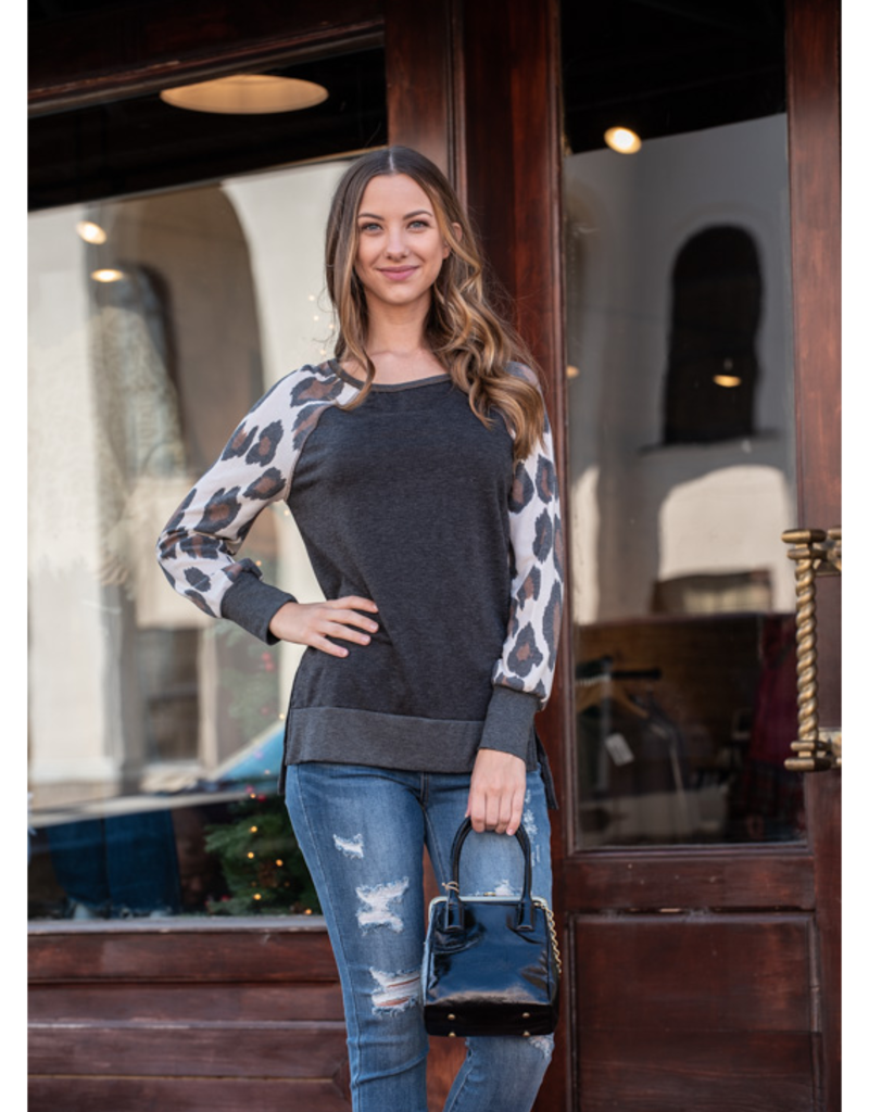 Mittoshop Charcoal French Terry Top w/ Leopard Sleeves - Tisha