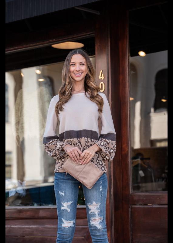 Entro Fleece Color Block w/ Waffle Knit Leopard Print - Theolyn
